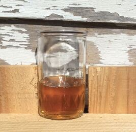 a cup of syrup from boiled sap