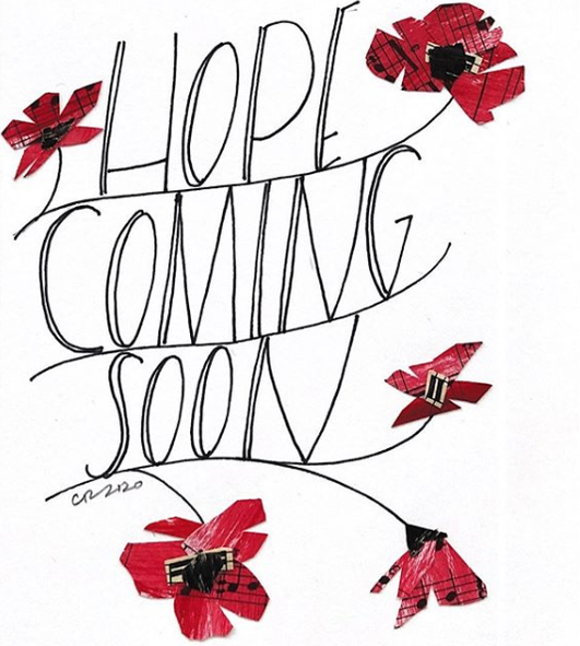 Hope is coming with poppy flowers