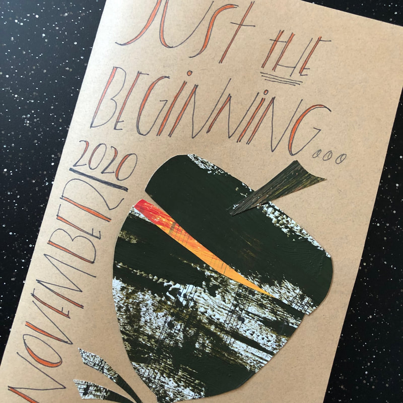 Journal cover with acorn and words: Just the beginning, November 2020
