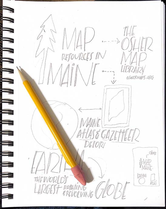 Pencil sketch: Map resources in Maine