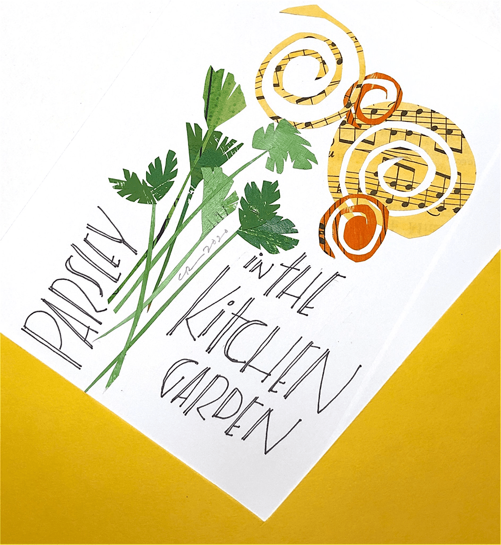 collage parsley and kitchen garden lettering