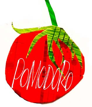 Collage tomato with Pomodoro lettering